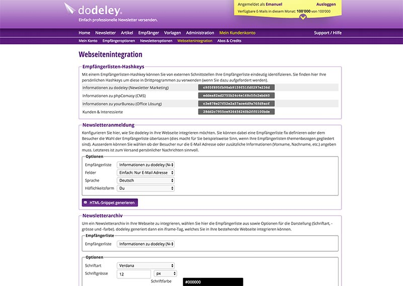 dodeley - Export in Fremdsystemen - Newsletter System, Online Newsletter versenden