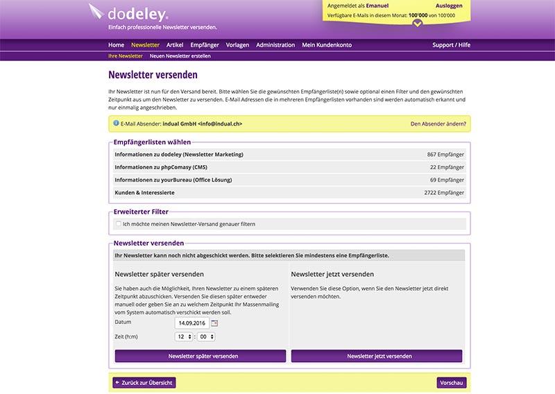 dodeley - Versand von Newslettern - Newsletter System, Online Newsletter versenden