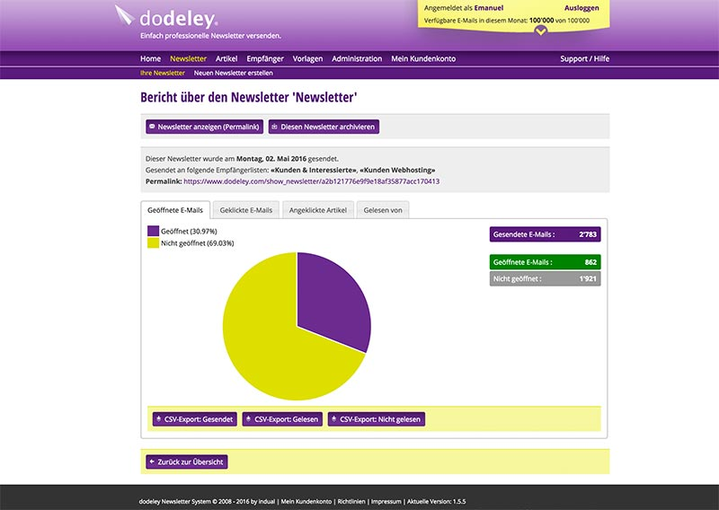 dodeley - Statistiken - Newsletter System, Online Newsletter versenden