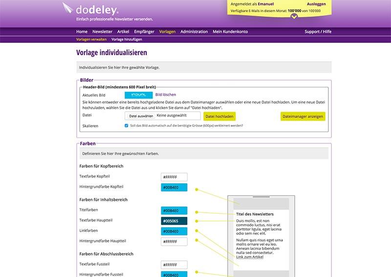 dodeley - Einfache Erstellung von Vorlagen - Newsletter System, Online Newsletter versenden
