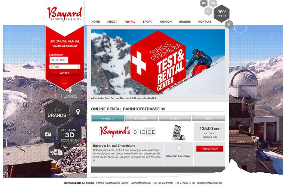 Weblösungen - Beliebige Erweiterung durch Module - Beispiel Bayard Sports Zermatt mit individueller Ski-Rental Plattform