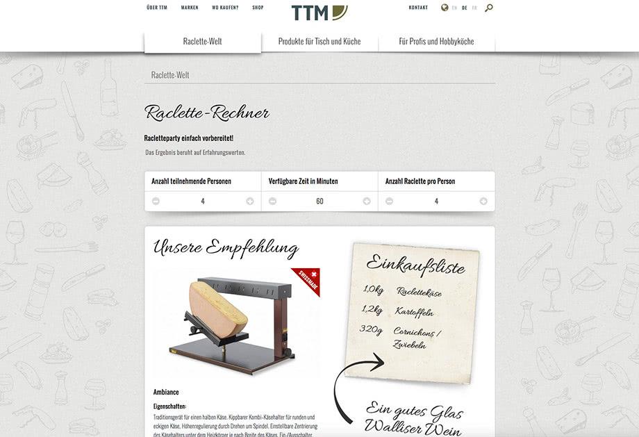 Weblösungen - Beliebige Erweiterung durch Module - Beispiel TTM mit individuellem Raclette Rechner