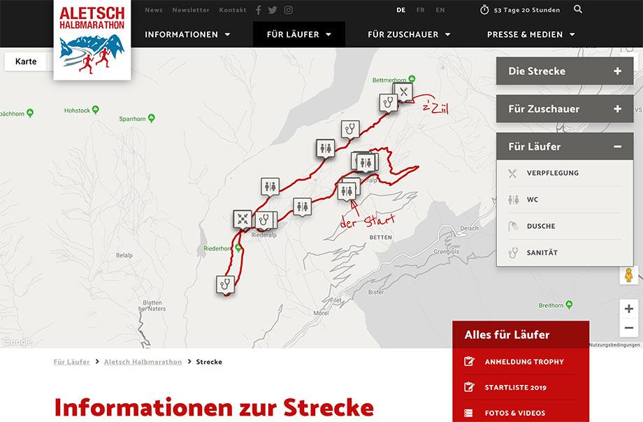 Weblösungen - Beliebige Erweiterung durch Module - Beispiel Aletsch Halbmarathon mit interaktiver Karten mit POIs