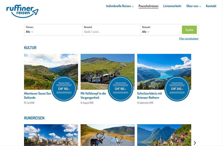 Weblösungen - Beliebige Erweiterung durch Module - Beispiel Ruffiner Reisen mit Pauschalreisen