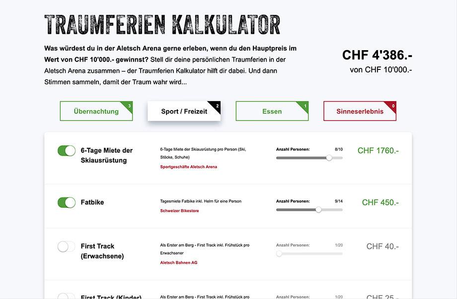 Weblösungen - Beliebige Erweiterung durch Module - Beispiel Aletsch Arena mit Traumferienkalkulator