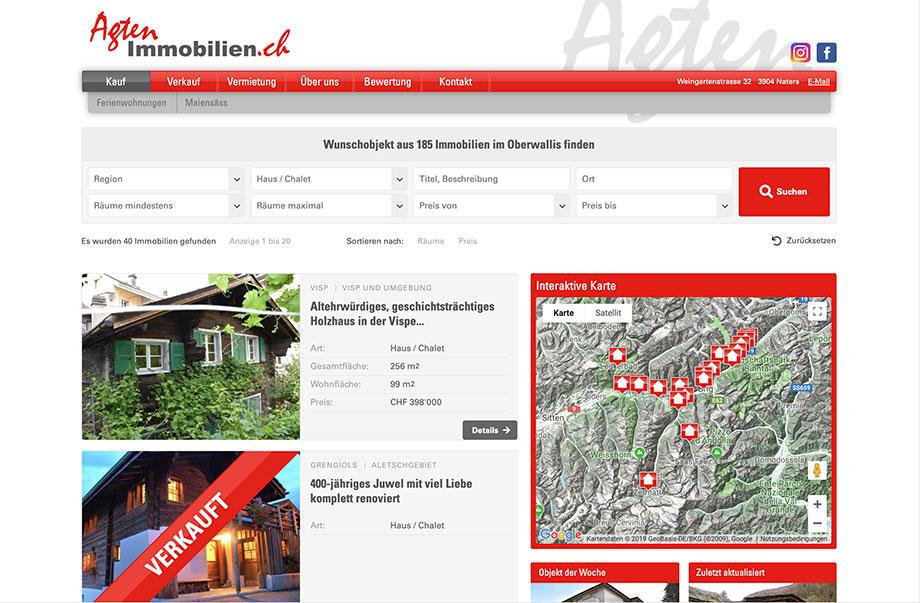 Weblösungen - Beliebige Erweiterung durch Module - Beispiel Agten Immobilien mit Immobilienportal