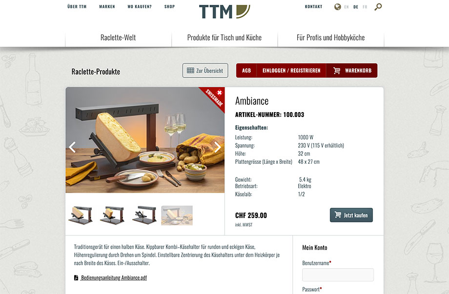 Online-Shop - Mit Webshop mehr Produkte verkaufen - Beispiel TTM SA