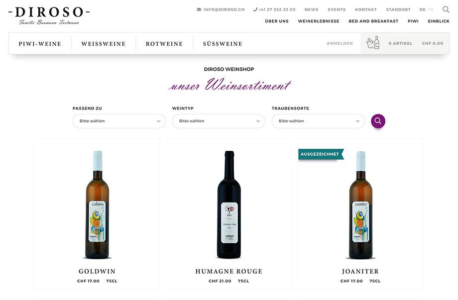 Online-Shop - Wein online verkaufen - Beispiel Diroso Weine