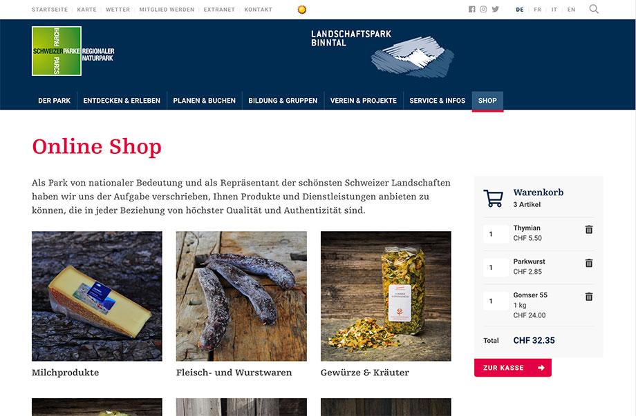 Online-Shop - Walliser Produkte in der ganzen Schweiz verkaufen - Beispiel Landschaftspark Binntal