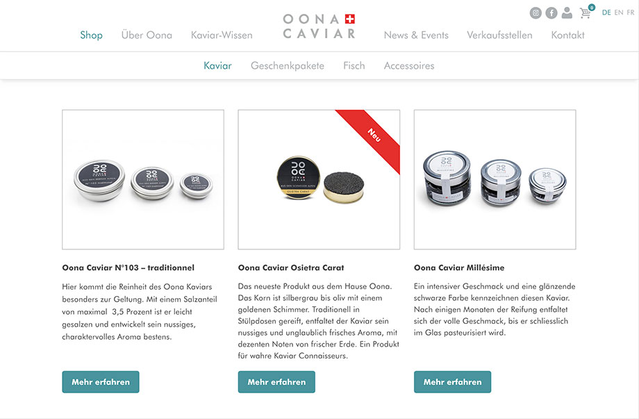 Online-Shop - Luxusprodukte wie Kaviar online verkaufen - Beispiel Oona Caviar